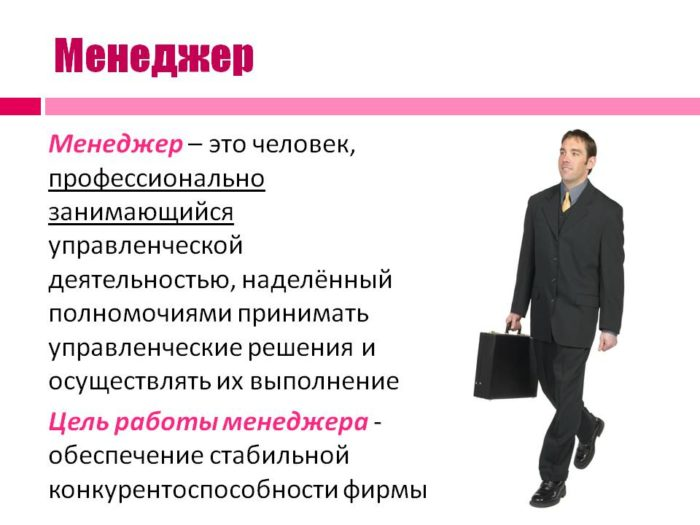 Описание профессии менеджер